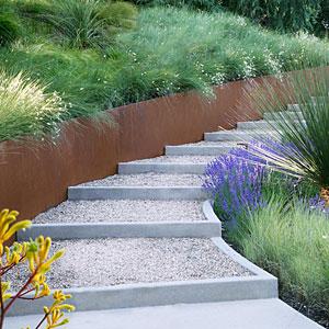 Создаем лестницу из грунта и гравия